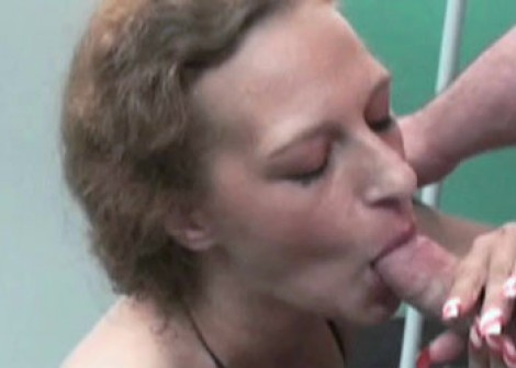 Petite housewife Anna swallows a cock